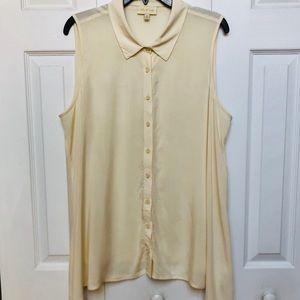 MODCLOTH-sleeveless asymmetrical button down top.